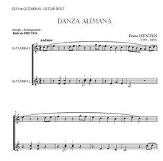 Danza Alemana (Hunten) Guitar duo arrangement. FREE SCORE: http://www.guitarraul.com/p/85/danza-alemana-hnten-gratis