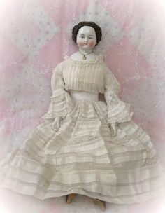 Fabulous Antique Circa 1870s China Head Doll Exquisite Original from dollsandlace on Ruby Lane