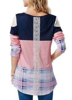 643e1cdbaa2c Round Neck Printed Long Sleeve Patchwork T Shirt Výšivka