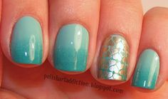sponged gradient with China Glaze For Audrey and Silky Polish Twill Sea; stamped using China Glaze 2030 and Mash 38