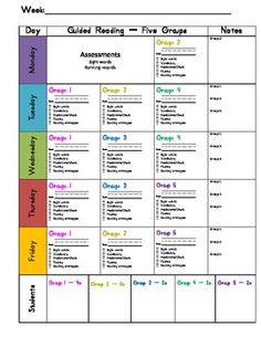 Guided Reading Weekly Planning Guide -- this includes forms for classrooms with 4 or 5 reading groups. It's a one page document that enables you to have a week-at-a-glance planning guide for all of your guided reading groups. This has been a lifesaver in my organization and planning for guided reading this year! I don't know why I didn't make this form 7 years ago!