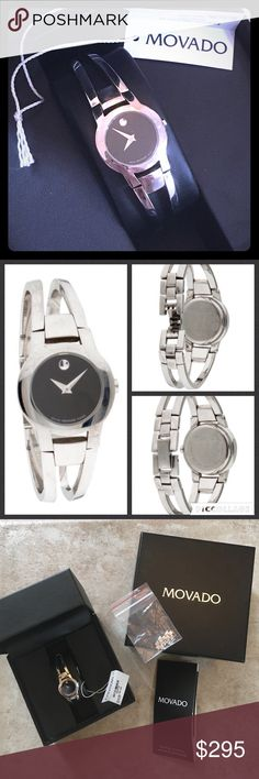 ⚡️FLASH SALE⚡️✨MOVADO Amorosa Watch-Model #0604759 Women's 100% AUTHENTIC MOVADO Amorosa watch, 24 mm stainless steel case, black Museum dial with silver-toned dot and hands, stainless steel double-bar bangle-style bracelet with back sizing links and jewelry clasp.  Original box, booklet, tag (with model #) and extra links that were removed are included.  Band and silver around face have many small scuffs and scratches from light wear (see photos). Movado Accessories Watches