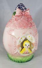 Rare Vintage Lefton yellow canary pink bow Cookie Jar 1950's . Bird flowers EUC