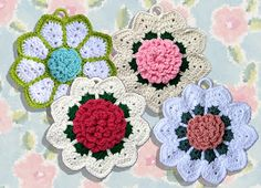 Floral Bouquet of Dishcloths Set 1 Crochet Pattern – Maggie's Crochet ~ easy level ~ size approx. in diameter ~ CROCHET Potholder Patterns, Crochet Potholders, Crochet Motifs, Easy Crochet Patterns, Filet Crochet, Crochet Designs, Crochet Doilies, Crochet Flowers, Dishcloth Crochet