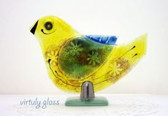 Yellow  bird  Sculpture  Fused  Glass Art   by virtulyglass, $45.00
