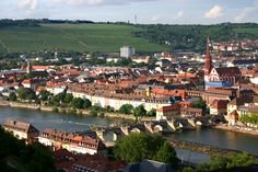 Wurzburg - Wurzburg, Bayern - looking down on the Old Saints Bridge