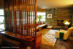 #FrankLloydWright's Falling Water house in the USA, showing guest room in 1985 with #BeniOurain carpet