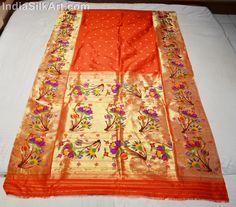 Silk Sari - Hand Woven Lotus Pallu - Red - Kumku Color
