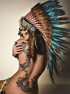 Tribal headdress authentic hand made native american inspired war bonnet 30 Tattoo Girls, Girl Tattoos, Tatoos, Frame Tattoos, Tattoo Women, Tribal Tattoos, Insane Tattoos, Sexy Tattoos, Awesome Tattoos