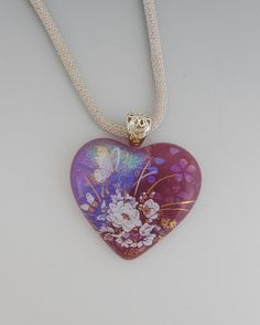Purple Butterfly Pendant Fused Glass Heart Dichroic by GlassCat