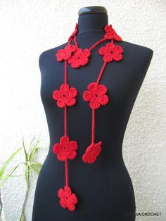 Tutorial Crochet Pattern Flower Scarf Lariat by LyubavaCrochet