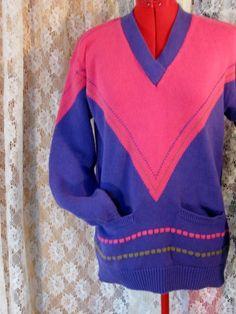 Vintage Hot Pink/Purple Vee Neck SWEATER by jonscreations on Etsy