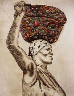 The Bearer (Irma) using trash. By Vik Muniz. Also does PB&J Mona Lisa and other plays on historical pieces such as the Last Supper