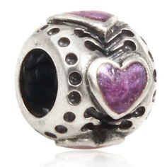 Pink Enamel Love Hearts Authentic Sterling Silver Solid Core Charms Love