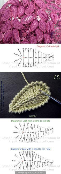 Irish crochet lace - leaf motif - photo tutorial and charts - great! Irish crochet lace - leaf motif - photo tutorial and charts - great! Record of Knitting String rotating, weaving and sew. Irish Crochet Patterns, Crochet Motifs, Crochet Diagram, Freeform Crochet, Crochet Designs, Tutorial Crochet, Irish Crochet Charts, Flower Tutorial, Crochet Leaf Free Pattern