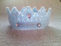 Baby Prince crown,newborn,blue,crochet/knit,handmade,gift/photo prop | eBay