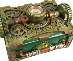 This is a really cool steampunk jewelry box which is decorated with some cool gears and a compass. It's made of cold cast resin with a metallic silver, gold and copper finish. Steampunk is a really cool genre that a lot of people love and you can have one of the coolest looking jewelry boxes on the block.