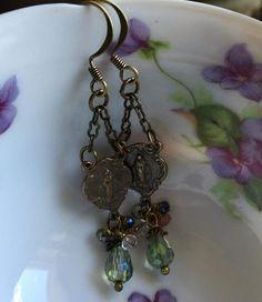 Crystal and Gemstone Miraculous Medal Earrings - Gail's Designs