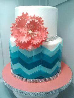 Teal ombre chevron cake