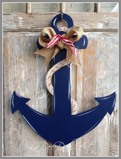 Anchor Door Decor Wood Art Anchor Anchor Door by ladeedahart Anchor Painting, Anchor Wall Art, Wood Anchor, Nautical Anchor, Wooden Door Hangers, Wooden Doors, Cruise Door Decor, Deco Marine, Wooden Cutouts