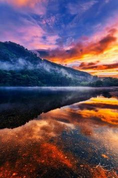 MORNING GLORY!  The sun is rising over Glendalough Valley and God's glorious canvas in the sky is mirrored in a lake as smooth as black glass. How lucky each of us was to have won a lottery at birth, where the prize was a sunrise every day of our lives.  (M) <3  Pic.  Alan Owens http://www.alanowensphotography.com https://www.facebook.com/pg/Alan.Owens.Photography