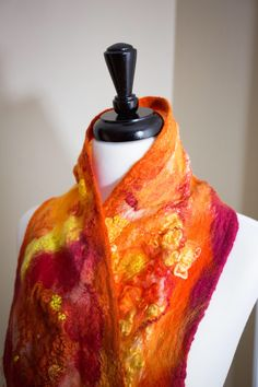 Excited to share the latest addition to my #etsy shop: Nuno felted silk chiffon and merino wool scarf