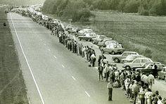 Baltijos kelias(Baltic Way). 650km (403miles) human chain across Lithuania, Latvia and Estonia in 1989 produced to seek independence from Soviet Union.