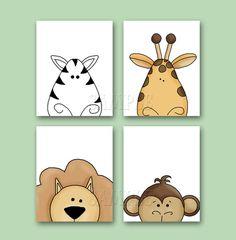 PEEKING JUNGLE Animal Art Set of 4 8x10 Art Prints Unisex Safari Jungle Animals Nursery Artwork on Etsy, $21.23 CAD