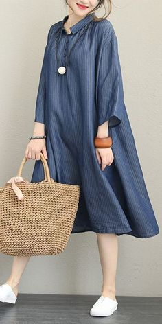 Loose Blue Stripe Dresses Women Casual Outfits For Fall Skirt Outfits, Fall Outfits, Casual Outfits, Fashion Outfits, Dress Casual, Fashion 2018, Womens Fashion, Japan Fashion, High Fashion