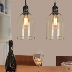 Shop for Glass Pendant Light Dome Shape Clear Glass LOFT Mini Pendant Light(Salt… - All For Decoration Dining Table Lighting, Kitchen Pendant Lighting, Pendant Light Fixtures, Pendant Lamp, Dining Table Pendant Light, Clear Glass Pendant Light, Cheap Pendant Lights, Glass Pendants, Modern Hanging Lights