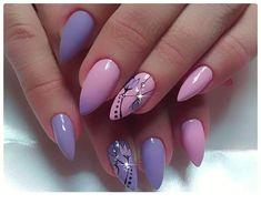 and Beautiful Nail Art Designs Almond Acrylic Nails, Cute Acrylic Nails, Acrylic Nail Designs, Nail Art Designs, Almond Nails, Classy Nails, Fancy Nails, Love Nails, Beautiful Nail Art