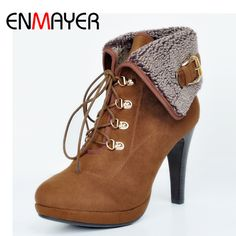 Find More Ankle Boots Information about ENMAYER Lace up Ankle Boots for Women High Heels Round Toe Plus Size 34 47 Spring Autumn Boots Shoes Woman Platform Shoes Women,High Quality Ankle Boots from Shop408473 Store on Aliexpress.com