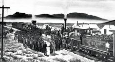 On this day in workers for the Union Pacific and Central Pacific railroads drove a golden spike into the rails at Promontory Summit, Utah. Diorama, Central Pacific Railroad, Council Bluffs Iowa, Golden Spike, Hell On Wheels, Steam Locomotive, American History, Utah, Documentaries