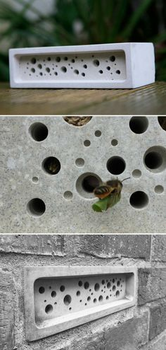 This bee brick provides a nesting site for solitary bees and makes a simple standalone bee hotel in the garden. Solitary bees are vital pollinators, responsible for over a third of food we eat. As a species they face massive decline due to more intensive farming methods, disease and loss of habitat. The bee brick make a stylish gift for garden and nature lovers. #ad #concrete #bee #hotel #brick #giftidea #cement