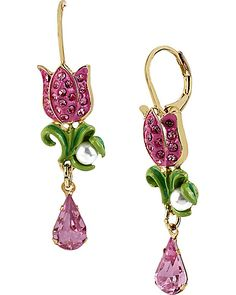 FAIRYLAND ROSE DROP EARRING PINK GREEN accessories jewelry earrings fashion