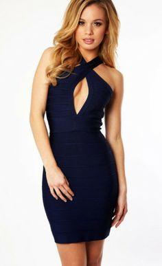 Navy Blue Halter Peekaboo Dress