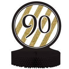 Black & Gold 90th Birthday Honeycomb Centerpiece/Case of 6 Tags: Black & Gold; Centerpieces; General Birthday; general birthday party ideas;general birthday party tableware;milestone birthday party ideas; https://www.ktsupply.com/products/32786324449/Black--Gold-90th-Birthday-Honeycomb-CenterpieceCase-of-6.html