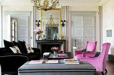 paneled doors, mirror above FP, fuchsia chairs