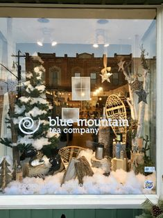 Winter window display Winter Window Display, Organic Loose Leaf Tea, Tea Companies, Blue Mountain, Store Fronts, Christmas Tree, Windows, Holiday Decor, Home Decor
