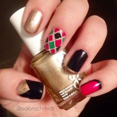 random color block nail art