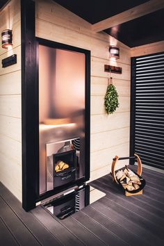 You can choose a woodburning Harvia Lgened 240 Duo or Harvia 20 Duo stove to your Solide outdoor sauna. Both stoves are designed to be heated from outside. You can enjoy the fireplace on patio or dressing room while the sauna is warming other side of the wall. #harvia #stove #woodburningstove #harvialegend #harviaduo #fireplace