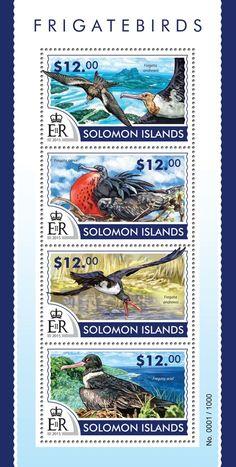 Post stamp Solomon Islands SLM 15305 aFrigatebirds (Fregata andrewsi, Fregata minor,  Fregata Andrewsi, Fregata ariel)