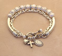 Rosary Charm Bracelet  White Freshwater Button Pearl by KCofKC, $90.00
