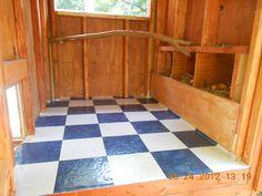 Sand over cheap vinyl flooring inside coop