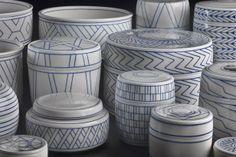 Leen Quist, porcelain objects with inlaid slip, 1996-2002, Gemeentemuseum Den Haag