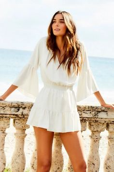 Europe Outfits, Hawaii Outfits, Hawaii Clothes, Beach Outfits, All White Romper, White Romper Outfit, Boho Romper, Romper With Skirt, Romper Dress
