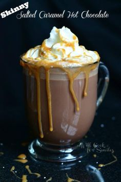 Skinny Salted Caramel Hot Chocolate | from willcookforsmiles.com #hotchocolate #saltedcaramel #skinny