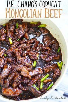 P.F. Chang's Mongolian Beef Copycat Recipe with soy sauce and green onions #mongolianbeef #beef #chinesefood