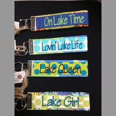 Original LHO design for the favorite lake person on your gift list. Custom made with scrap materials and embroidery details that make this item the perfect gift.Wristlet design to slip onto wrist for hands free activitiesValet ring to insure the valet ONLY has the key you wish them to have!On Lake TimeLovin' Lake LifeLake QueenLake Girl and our newest designMMM...Motorboatin' (not shown)