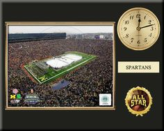 """One 8 x 10 inch Michigan State University photo of Michigan State  University Spartans Logo inserted in a gold slide-in frame and mounted on a 12 x 15 inch solid black finish plaque.  Also features a 3-inch Arabian gold-faced clock, a customizable nameplate* and a 2-inch """"ALL STAR"""" insert with a gold base.  $59.99 @ ArtandMore.com"""
